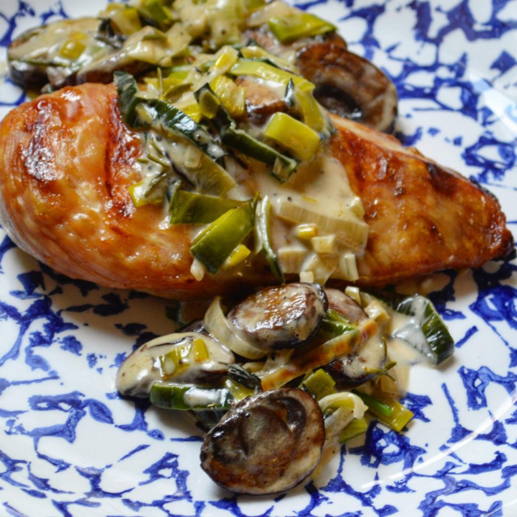 Chicken with Mushroom Leek Sauce