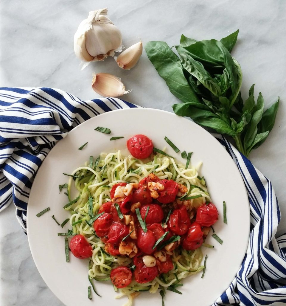 Cherry Tomatoes & Garlic Sauce over Zoodles